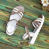 Босоножки кожаные на утолщенной белой подошве. Цвет визон/бежевый., фото 4