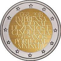 Португалия 2 евро 2018 «250-летие Официальной типографии» UNC