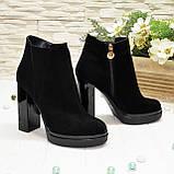 Ботинки демисезонные женские на устойчивом каблуке, натуральная черная замша, фото 3