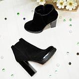 Ботинки демисезонные женские на устойчивом каблуке, натуральная черная замша, фото 4