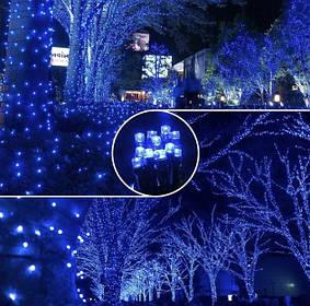 Гирлянда 100LED 10м флеш синяя