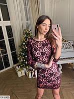 """Платье женское сетка с напылением из бархата+подкладка, сзади на молнии (42-44;44-46) """"AmoreMio"""" 2P/RVS-1335/2"""