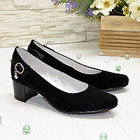 Женские замшевые туфли на невысоком каблуке классического пошива., фото 1