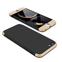 Чехол GKK 360 для Iphone 5 / 5s / SE Бампер оригинальный Black-Gold без выреза