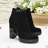 Ботинки демисезонные женские на устойчивом каблуке, натуральная черная замша, фото 2