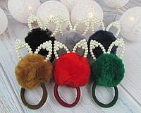 Резинки для волос меховые шарики Ø5 см с ушками 12 шт/уп.