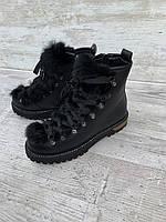 Ботиночки  черные зима на платформе натуральній замш и мех, фото 1