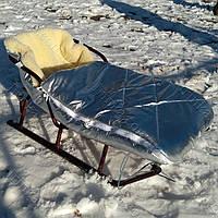 Красивый зимний конверт в санки (коляску) Серебро