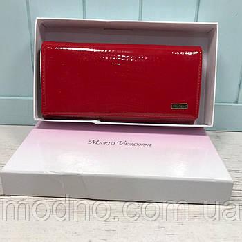 Жіночий шкіряний гаманець лаковий з бантиком на кнопці червоний Mario Veronni