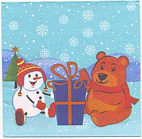 """№ 31 Салфетка для декупажа или сервировки стола """"Мишка со снеговиком"""". 33х33"""