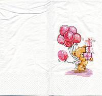 """№ 33 Салфетка для декупажа или сервировки стола """"Мишка с подарками и шарами"""". 33х33"""