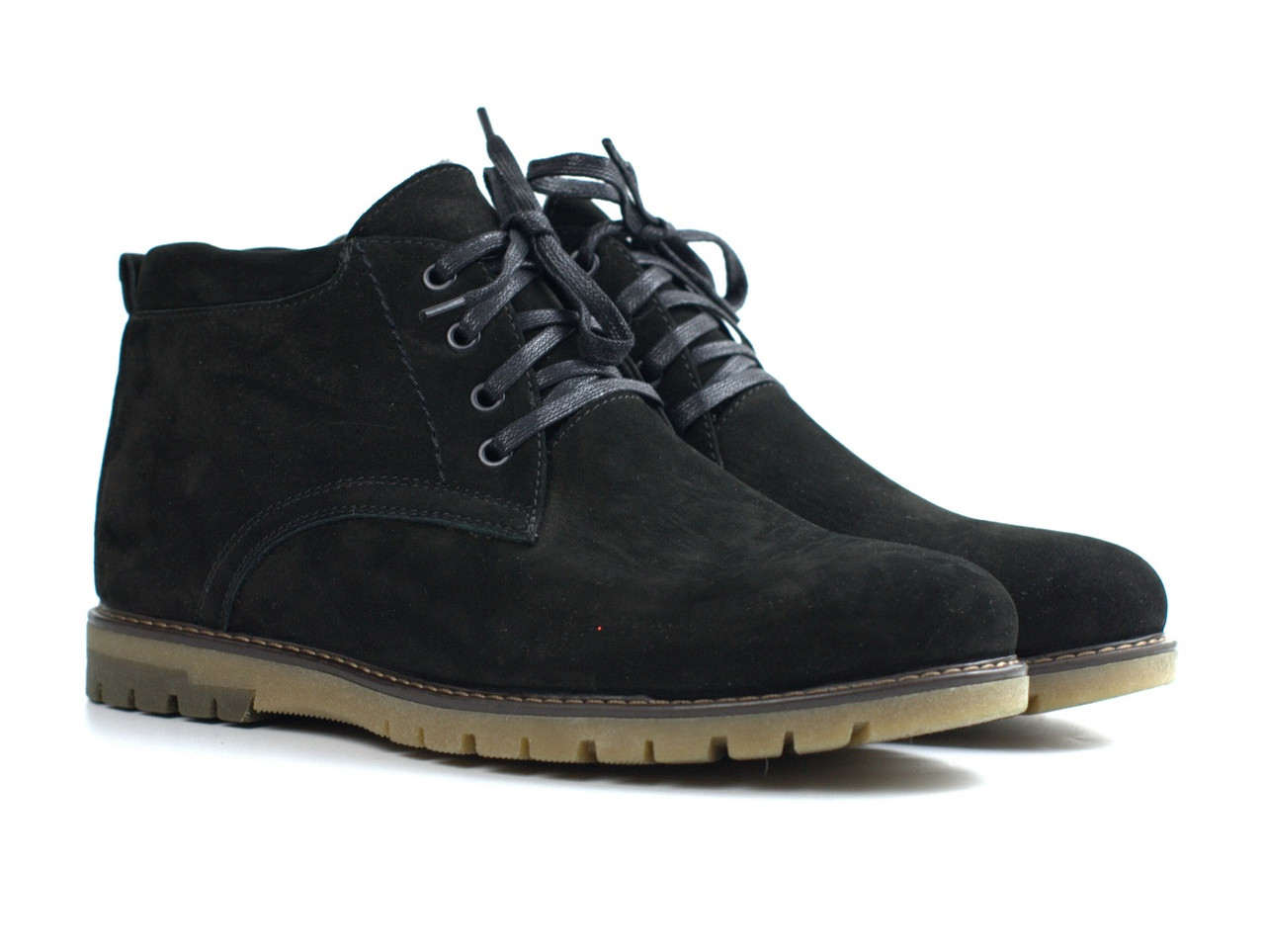 Большой размер Замшевые зимние мужские ботинки замша натуральные Rosso Avangard Bonmarito Black Vel черные