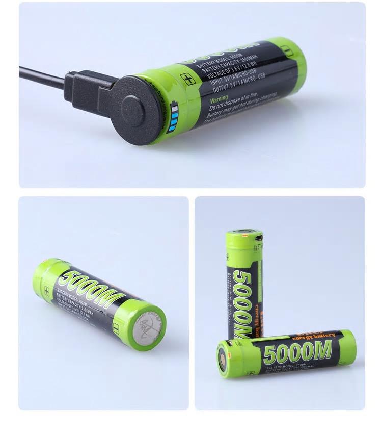 Акумулятор 18650 3500 мАч з micro-usb Liter №1002
