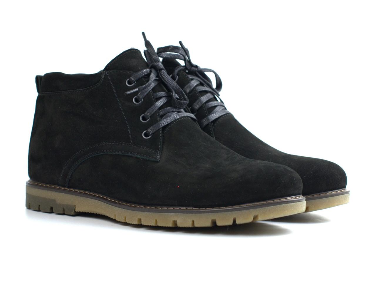 Замшеві зимові чоловічі черевики замша натуральні Rosso Avangard Bonmarito Black Vel чорні