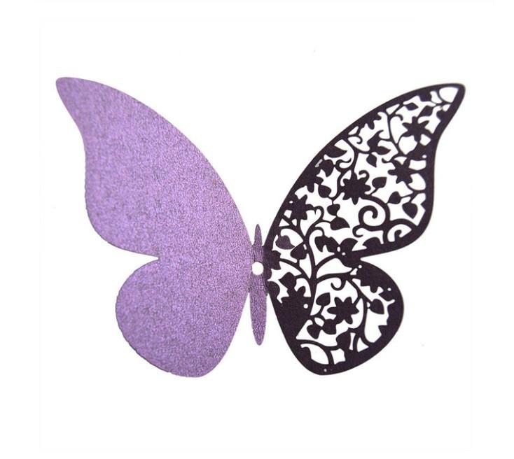 Наклейки на стену Бабочки 3d ажур фиолетовые 12 шт. в упаковке