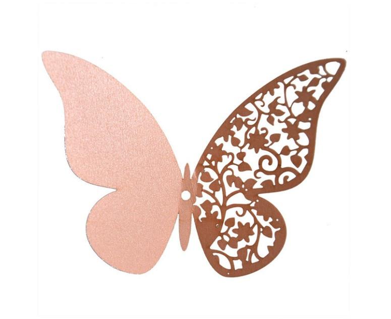 Наклейки на стену Бабочки 3d ажур розовые 12 шт. в упаковке