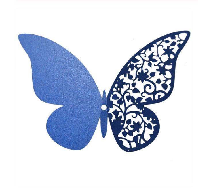 Наклейки на стену Бабочки 3d ажур синие 12 шт. в упаковке