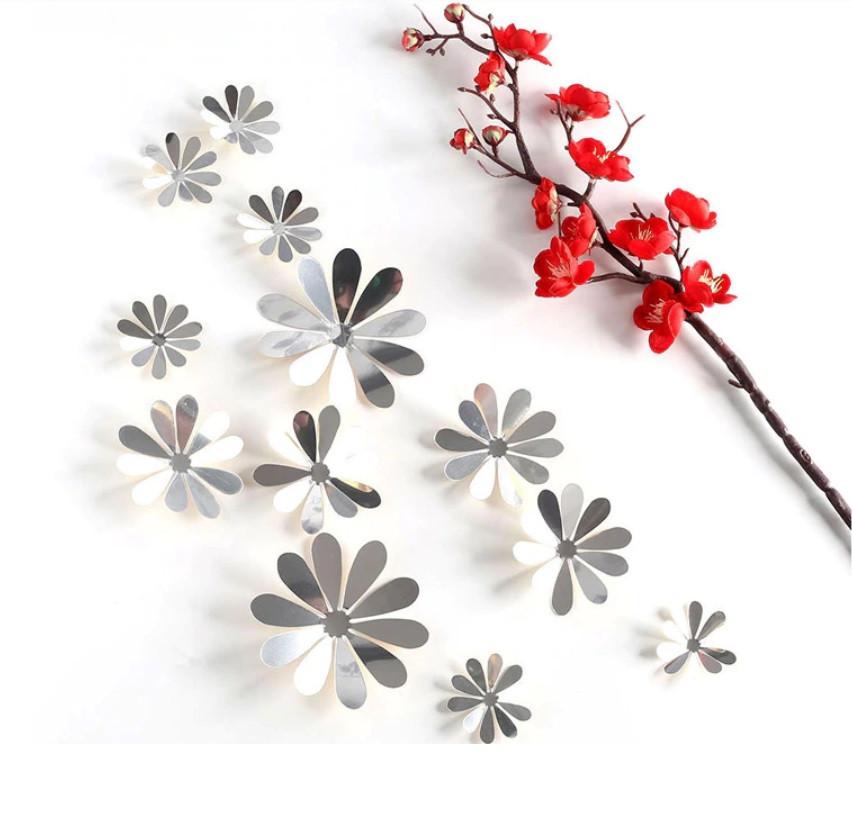 Наклейки на стену Зеркальный цветок 3d серебристые 12 шт. в упаковке
