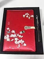 Набор блокнот ежедневник со встроенным POWER BANK и 16 gb флешка женский красный с принтом цветы в коробке