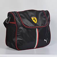 Спортивная молодёжная сумка через плече Puma ferrari - Код 19-13 - (черная/красная)