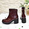 Ботинки женские на устойчивом каблуке, натуральная бордовая кожа., фото 2