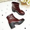Ботинки женские на устойчивом каблуке, натуральная бордовая кожа., фото 4