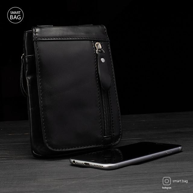 Мужская кожаная мини сумочка Marrant | черная