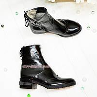 Ботинки женские на невысоком каблуке, натуральная лаковая кожа, фото 1