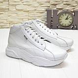 Ботинки женские кожаные белые спортивного стиля, фото 2