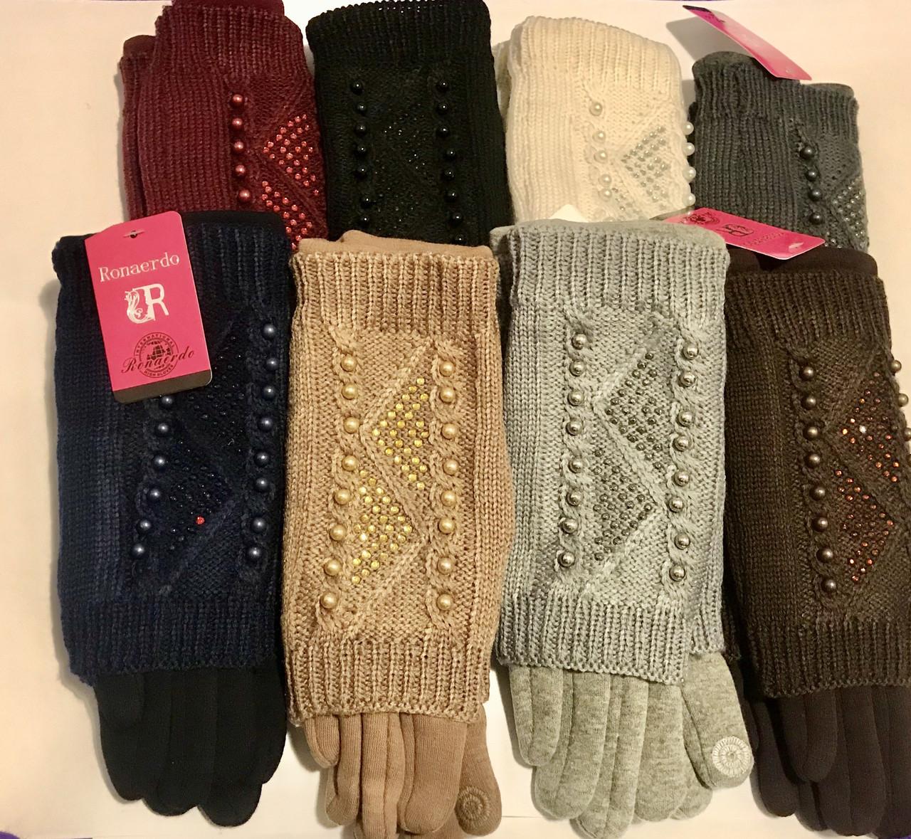 Женские сенсорные перчатки  вязка (митенки) 12 пар разные цвета оптом