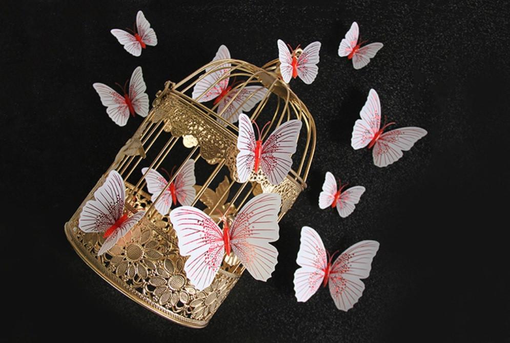 Бабочки 3D белые Блеск на магните 12 шт. в комплекте, красные
