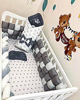 """Комплект в кроватку БомБон""""Серый + серые звезды на белом"""""""