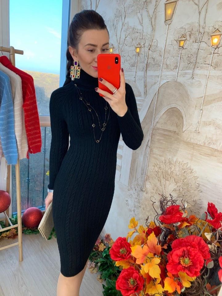 Теплое платье рельефная машинная вязка. Размер:42-44. Цвета разные. (0861)