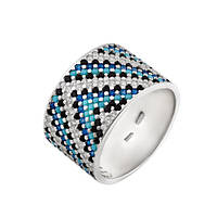 Серебряное кольцо широкий орнамент сине-черный с голубым фианитом