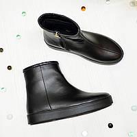 Ботинки женские черные кожаные на утолщённой подошве, фото 1