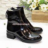 Ботинки женские на невысоком каблуке, натуральная лаковая кожа, фото 2