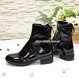 Ботинки женские на невысоком каблуке, натуральная лаковая кожа, фото 3