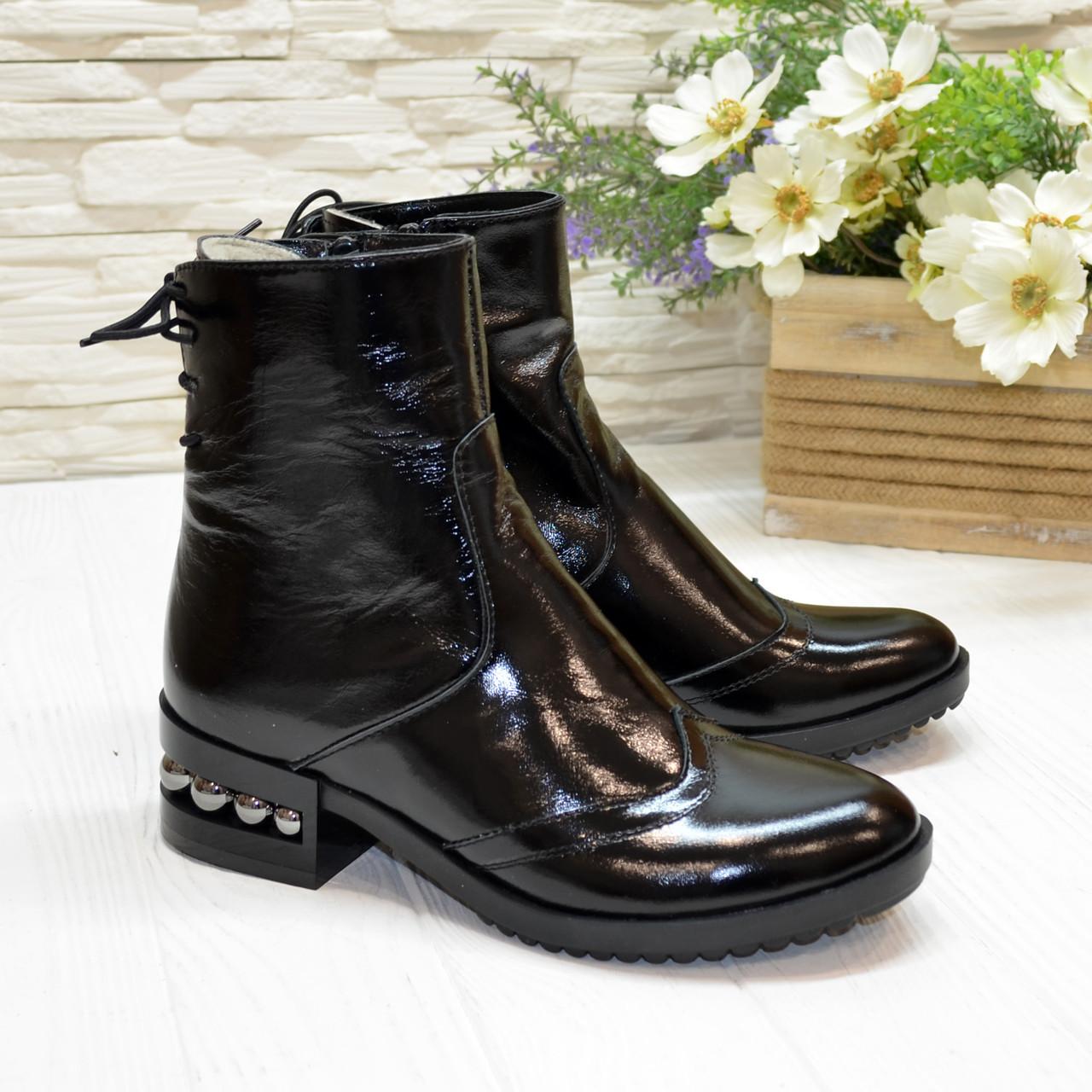 Ботинки черные женские на невысоком каблуке, натуральная лаковая кожа