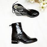 Ботинки черные женские на невысоком каблуке, натуральная лаковая кожа, фото 2