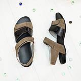 Женские босоножки на липучках из натуральной замши и кожи, фото 3