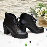 Ботинки женские кожаные на устойчивом каблуке, фото 3
