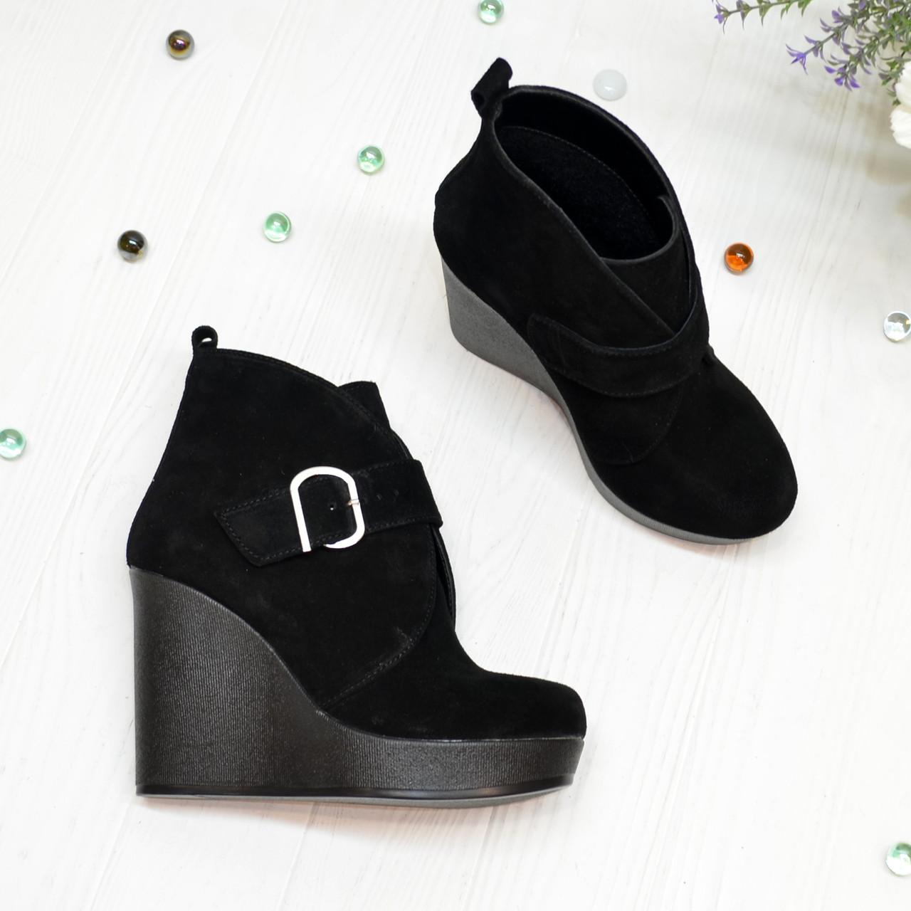 Ботинки замшевые черные женские на высокой платформе