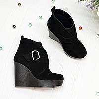 Ботинки замшевые черные женские на высокой платформе, фото 1