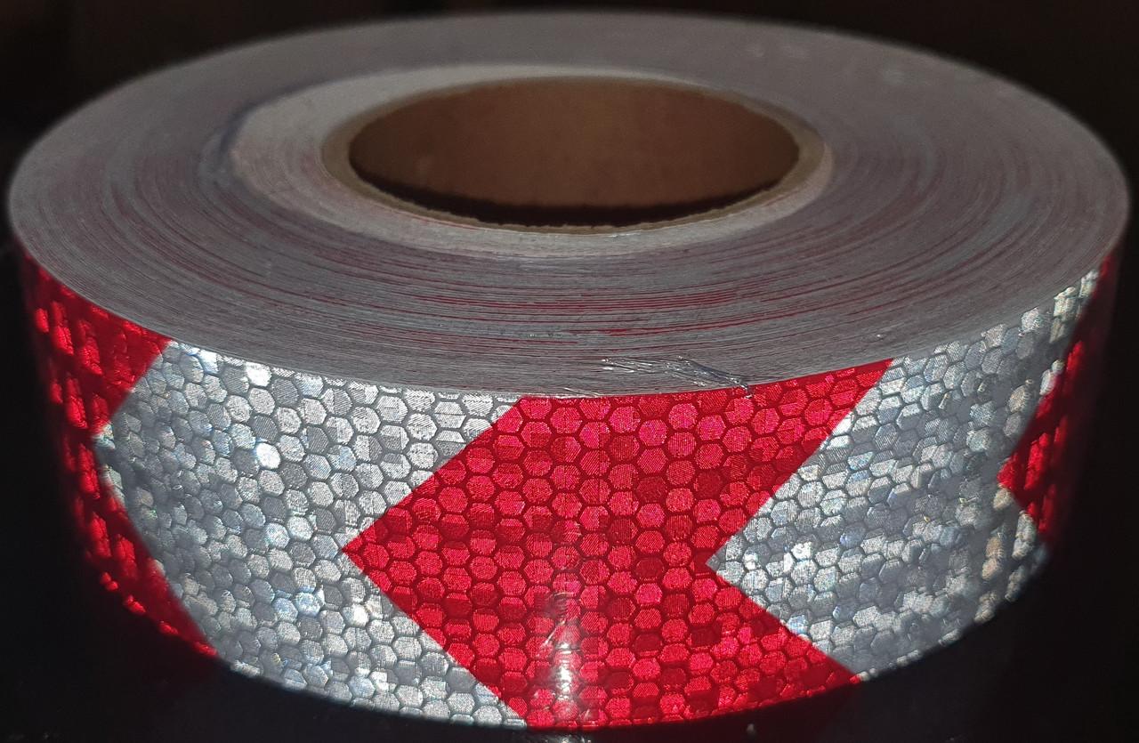 Светоотражающая самоклеющаяся стрела БЕЛО-КРАСНАЯ лента рулон 50 м, ширина 5 см