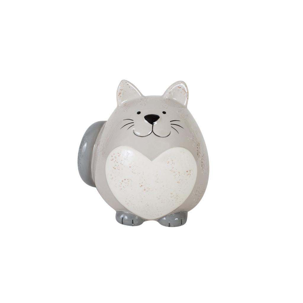 Фигурка кот серый с сердцем 9см 108502