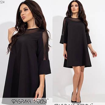 Короткое платье-трапеция, черный