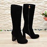 Сапоги женские замшевые черного цвета на высоком каблуке, декорированы накаткой камней, фото 3