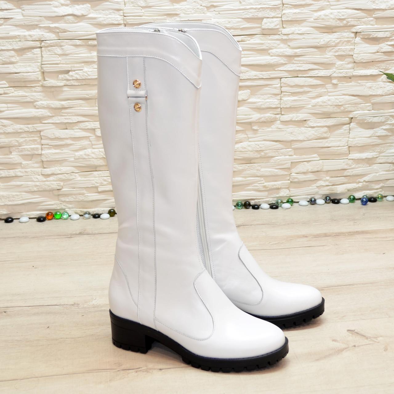 Сапоги женские кожаные белые на невысоком каблуке
