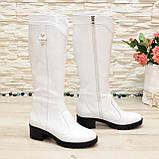Сапоги женские кожаные белые на невысоком каблуке, фото 2