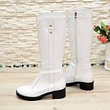 Сапоги женские кожаные белые на невысоком каблуке, фото 3